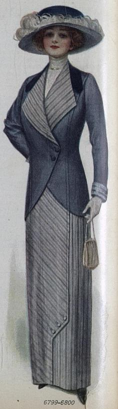 woman's suit and hat with ostrich feathers