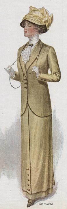 linen suit with narrow trim binding