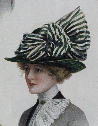 1912 hat with striped ribbon trim