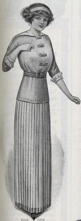 1912 pleated skirt and long blouse
