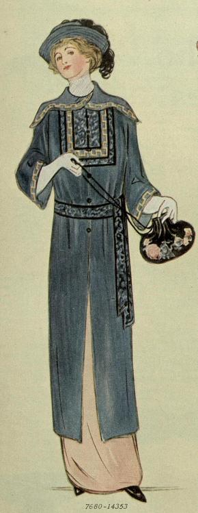 1913 blue satin coat