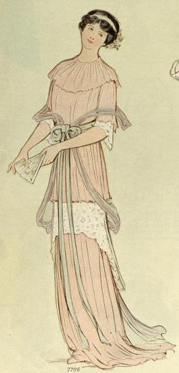 1913 pink evening dress