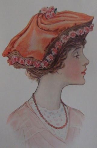 orange watteau hat